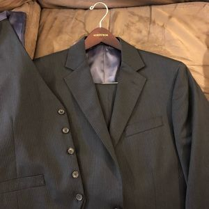 Other - Black Pinstripe 3-Piece Vested Slim Fit Suit 42R